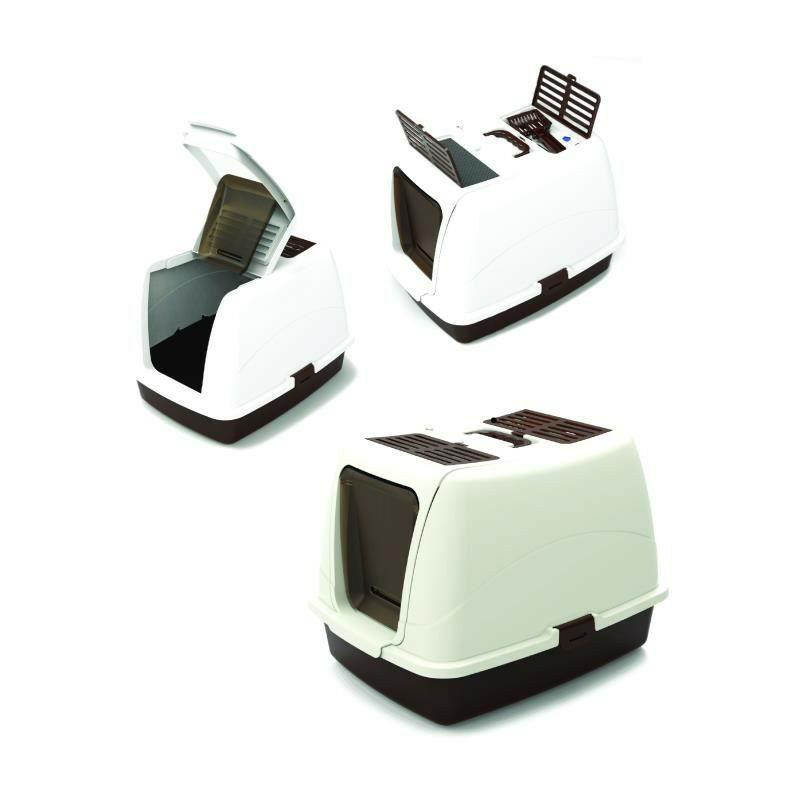 MPETS Maison de toilette Aswan - Pour chat - Marron et blanche