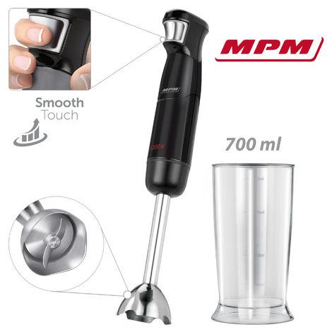 MPM Batidora de Mano, Regulador Electrónico Velocidad, Varilla Extra Larga Acero Inoxidable, Vaso 700 ml 1200W Negro