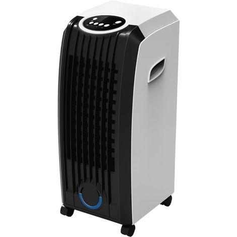 MPM Climatizador Evaporativo, Enfriador Aire Portátil, Función Humidificador, Purificador, Cajón Hielo 60W Blanco/Negro