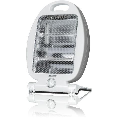 MPM Estufa Eléctrica de Cuarzo Portátil, Radiador Halógeno, 2 Lámparas, 2 Niveles Potencia, Seguridad 800W Blanco