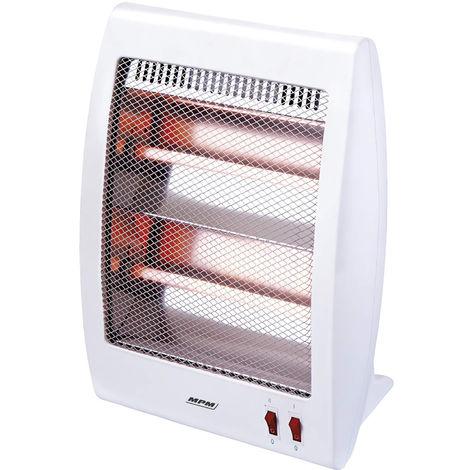 MPM MUG-09 Estufa eléctrica de cuarzo portátil, radiador halógeno, 2 niveles temperatura, sistema seguridad, 400/800W