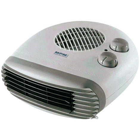 MPM MUG-10 Calefáctor eléctrico portátil de aire frio caliente, 2 niveles de potencia, sistema de seguridad 1000W/2000W