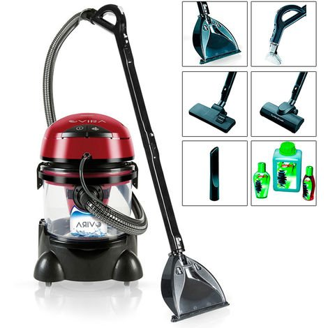 MPM Vira MOD-22 Lava-aspiradora con Limpiador de tapiceria para Coche, alfombras, colchones, aspiradora en humedo seco, depósito de 10 litros residuos, depósito detergente 4,5 litros, 2400W