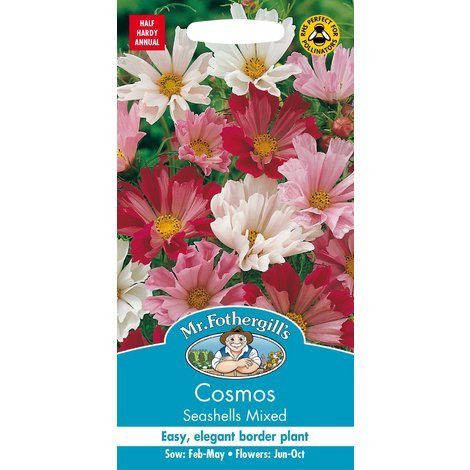 Flower 60 Seeds Cosmos Sea Shells Red Johnsons Seeds Pictorial Pack