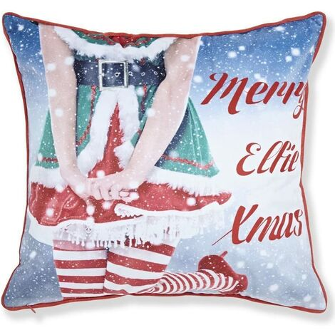 Mr & Mrs Elfie Cushion Cover 43 x 43cm Bed Sofa Accessory Unfilled Christmas