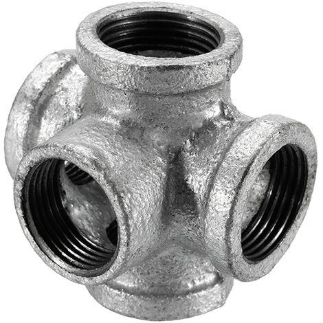 """Mrosaa 1/2 """"3/4"""" 1 """"5 voies raccord de tuyau fonte malléable noir sortie croix femelle tube connecteur robinet robinet accessoires 6 points"""
