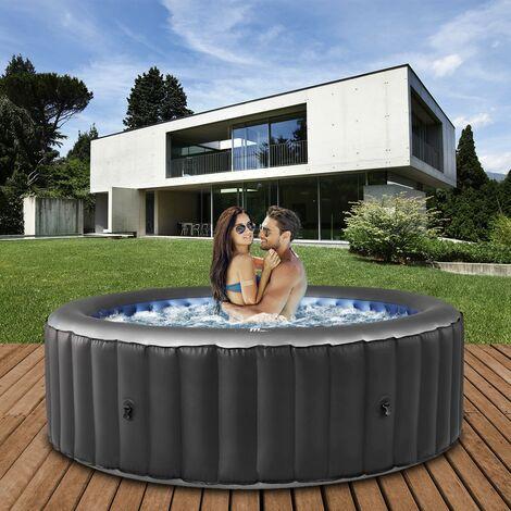 MSPA BERGEN Outdoor Whirlpool aufblasbar 4 Personen NEU 2021 Garten Pool Heizung (Anthrazit )