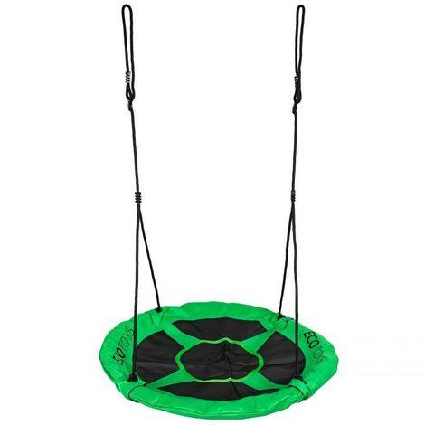 MSTORE - Balançoire de jardin nid d'oiseau pour enfants diamètre 100 cm - À partir de 3 ans - Hauteur réglable - Bord en mousse - Vert