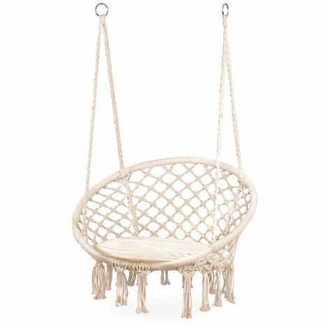 MSTORE - Chaise hamac suspendue - Balençoire du jardin - Fauteuil suspendu - Avec coussin - Charge max 150kg - Beige