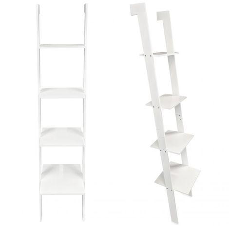 MSTORE   Étagère moderne en bambou échelle salon/chambre/salle de bain   4 tablettes pratiques   Bois + panneau MDF - Blanc