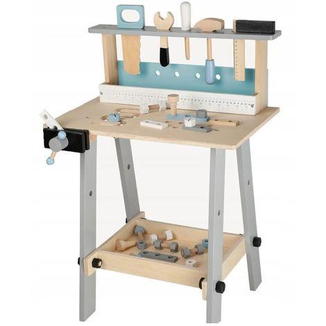 MSTORE - Grand établi d'atelier en bois - 32 accessoires inclus - À partir de 3 ans - Jouets complet d'outils bricolage - Naturel