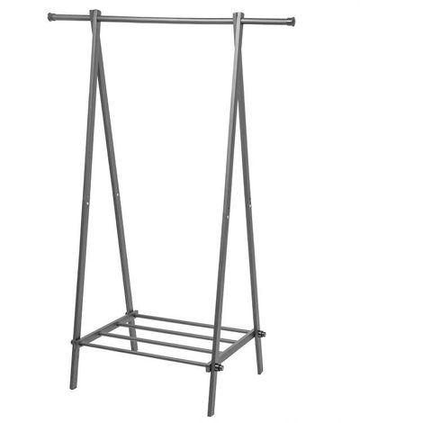 MSTORE - Portant vêtements armoire penderie + armoire à chaussures couloir/chambre/dressing - 150x107x43,5 cm - En acier - Gris
