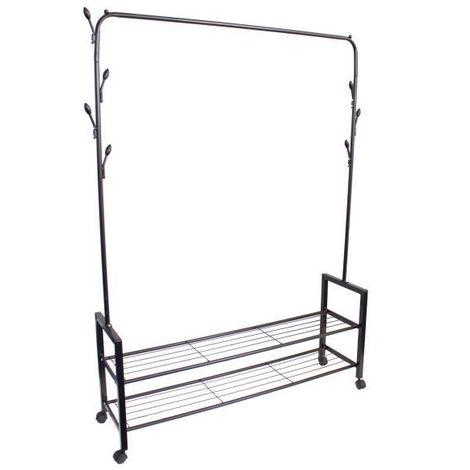 MSTORE - Portant vêtements armoire penderie + armoire à chaussures couloir/chambre/dressing - 2 tablettes - Crochets décoratifs - Noir