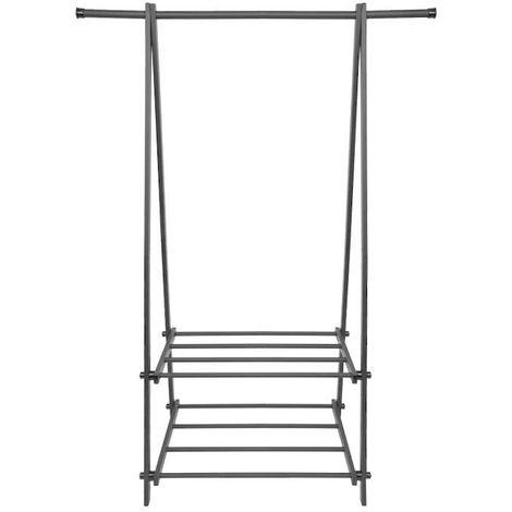 MSTORE - Portant vêtements armoire penderie + armoire à chaussures couloir/chambre/dressing - 2 tablettes - En acier - Gris