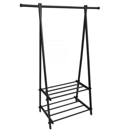 MSTORE - Portant vêtements armoire penderie + armoire à chaussures couloir/chambre/dressing - 2 tablettes - En acier - Noir