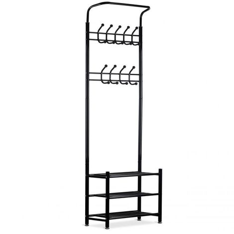 MSTORE - Portant vêtements armoire penderie + armoire à chaussures couloir/chambre/dressing - 3 étagères - 18 crochets - Noir