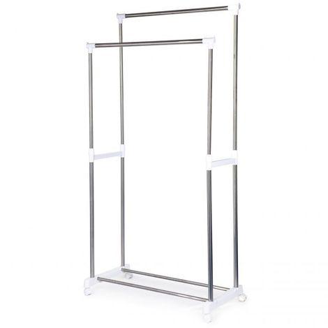 MSTORE - Portant vêtements armoire penderie + armoire à chaussures couloir/chambre/dressing - 4 roulettes - En acier - Blanc