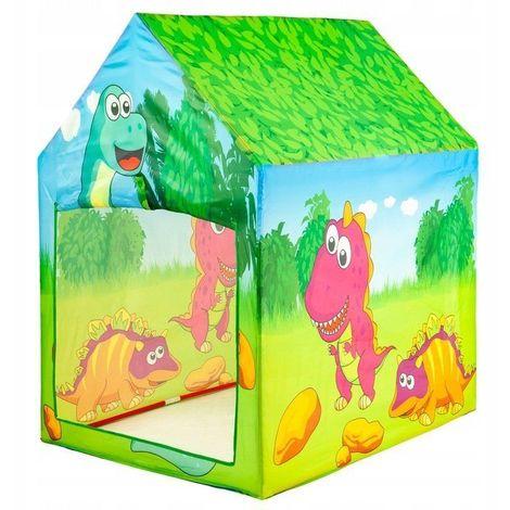 MSTORE - Tente de jeu enfants motifs dinosaures - À partir de 3 ans - Intérieur/Extérieur - 2 entrées - Construction légère - Vert/Bleu