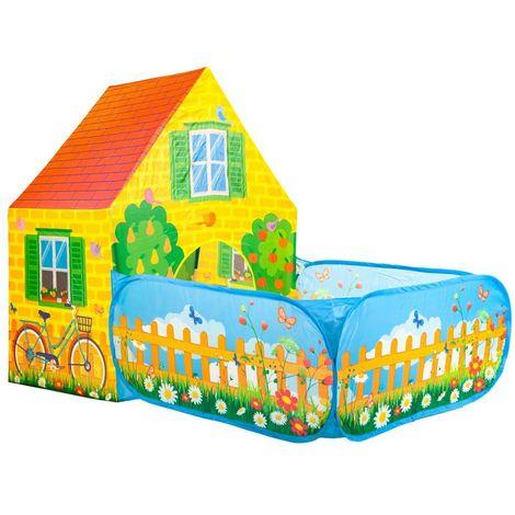 MSTORE | Tente pour enfants maisonnette piscine sèche motif ferme | Âge 3+ | Armature solide | Tente pour la maison ou le jardin | Jaune - Jaune