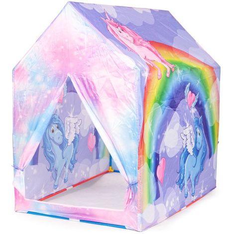 MSTORE | Tente pour enfants maisonnette piscine sèche motif unicorne | Âge 3+ | Armature solide | Tente pour la maison ou le jardin | Rose/Violet - Rose/Violet