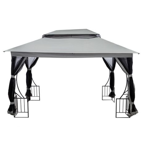 MSTORE | Tente tonnelle pavillon de jardin 3x3 m moustiquaire | 300x300x250 cm | Parois avec moustiquaires + Matériel imperméable | Gris - Gris