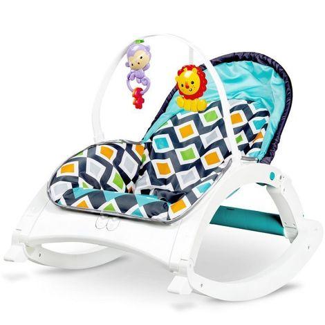 MSTORE   Transat à bascule 3en1 vibrations + mélodies bébé/enfant   Poids autorisé : jusqu'à 18 kg   Harnais de sécurité   Bleu - Bleu