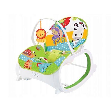 MSTORE | Transat à bascule 3en1 vibrations + mélodies bébé/enfant | Poids autorisé : jusqu'à 18 kg | Harnais de sécurité | Vert - Vert