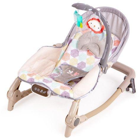 MSTORE - Transat à bascule berceau 2en1 bébé/enfant - Vibrations + mélodies - Poids autorisé : jusqu'à 18 kg - Harnais de sécurité - Gris/Noir