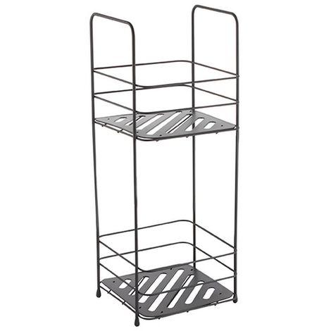 MSV Badregal mit 2 Ablagen Badezimmerregal Standregal Küchenregal Aufbewahrung - Metall schwarz matt