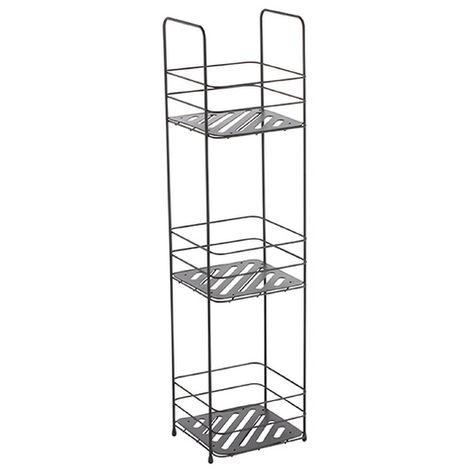 MSV Badregal mit 3 Ablagen Badezimmerregal Standregal Küchenregal Aufbewahrung - Metall schwarz matt