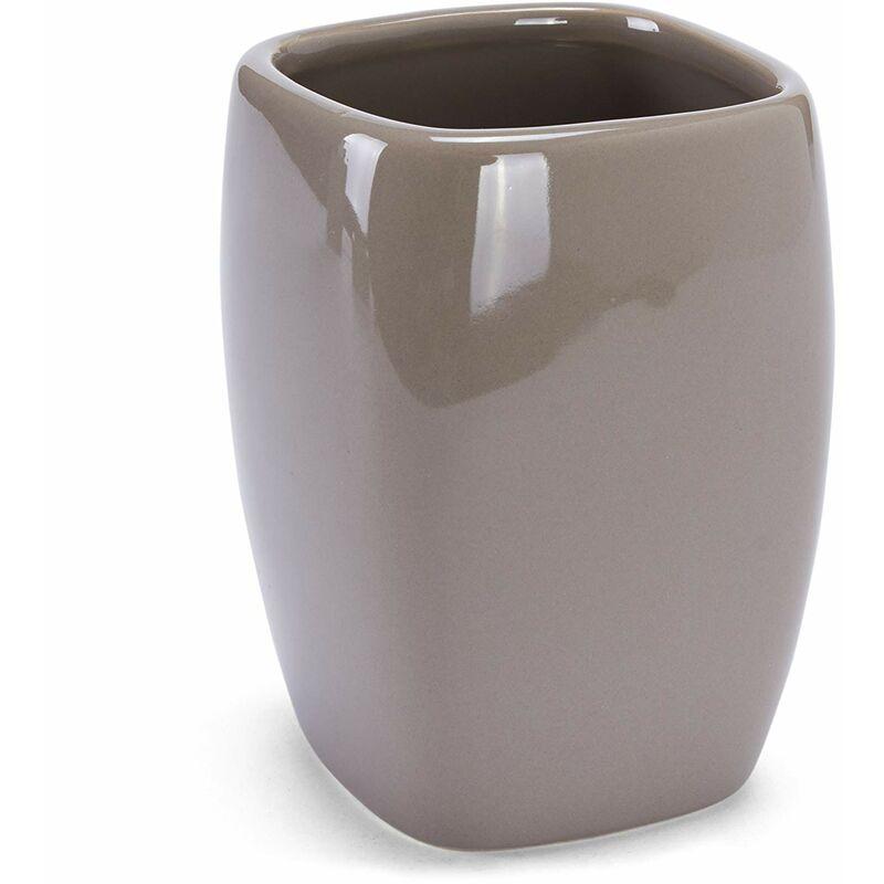 Seifenschale MSV Bad Accessoires Keramik 3-teilig Zahnputzbecher Taupe Seifenspender