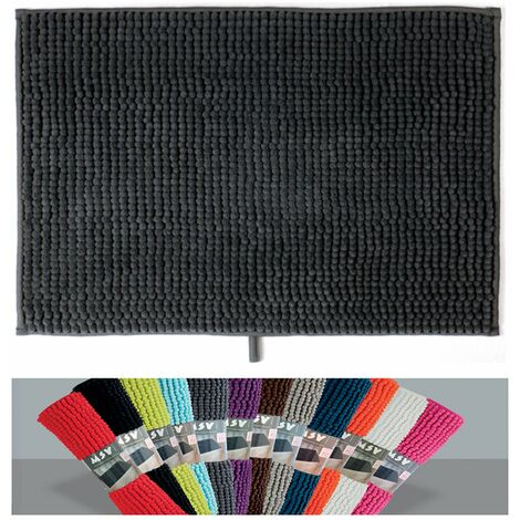 MSV Badteppich Badvorleger Duschvorleger Chenille Hochflor Badematte 40x60 cm – Orange