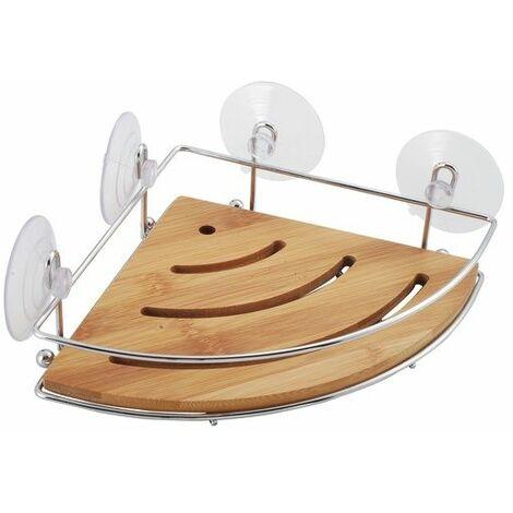 MSV Etagère d'angle de douche à ventouses Chrome & Bambou - Chrome & Bambou