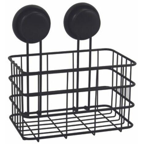 MSV Etagère Panier de douche à ventouses Acier Noir Mat - Noir