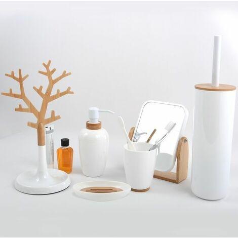 MSV Lot de 6 accessoires de salle de bain OSLO Blanc - Blanc