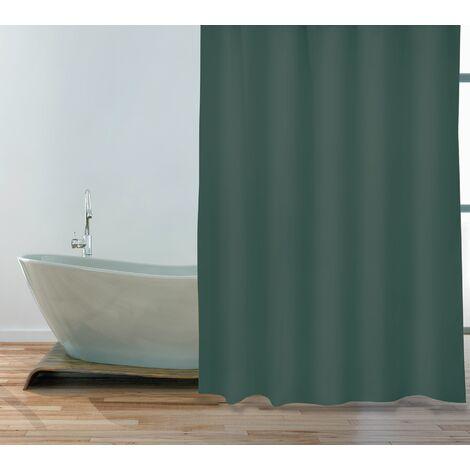 "MSV Premium Anti-Schimmel Textil Duschvorhang - Anti-Bakteriell, waschbar, 100% wasserdicht, mit 12 Duschvorhangringen - Polyester, ""Dunkelgrün"" 180x200cm"
