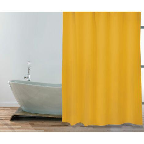 """MSV Premium Anti-Schimmel Textil Duschvorhang - Anti-Bakteriell, waschbar, 100% wasserdicht, mit 12 Duschvorhangringen - Polyester, """"Safran Gelb"""" 180x200cm"""