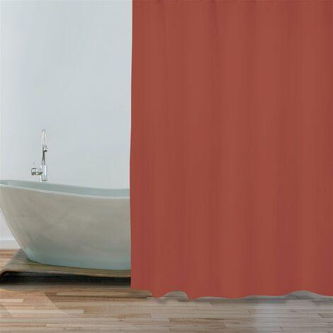 "MSV Premium Anti-Schimmel Textil Duschvorhang - Anti-Bakteriell, waschbar, 100% wasserdicht, mit 12 Duschvorhangringen - Polyester, ""Terracotta Rot"" 180x200cm"