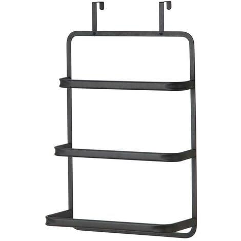 MSV Tür-Hängeregal, Tür-Handtuchhalter Handtuchhalter mit 3 Handtuchstangen Badetuchhalter für alle gebräuchlichen Türen ohne Bohren schwarz