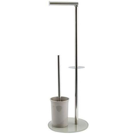 """MSV """"Bergamo"""" Stand WC Garnitur WC Bürste Rollenhalter Toilettenbürste Klobürste Klopapierhalter aus Edelstahl und Glas Taupe 3in1"""