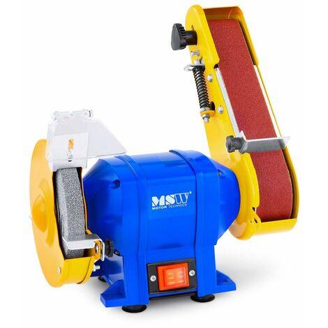MSW Amoladora De Mesa Lijadora Esmeriladora Combi Banda Eléctrica 250 W - 2950