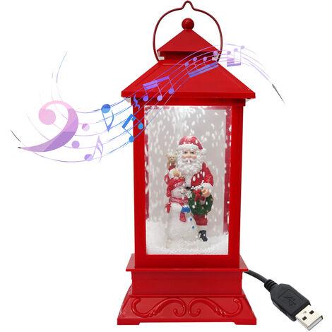 MT18A Viejo abrazos muneco de nieve con la Navidad pequeno faro rojo (sin bateria) con el adaptador USB estandar americano de cable, 3 musica