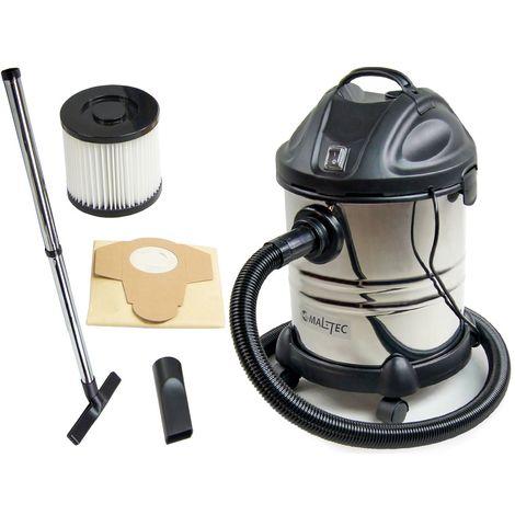 MTEC | Aspirateur eaux et poussières 1400W 20L | Aspirateur chantier atelier usage professionnel | Cuve inox + Filtre HEPA | Noir - Noir