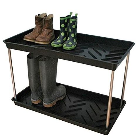 Muddy or Dirty Shoe, Boot and Wellies Tray - Black 2-Tier