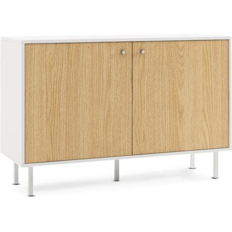 Mueble aparador con 2 puertas, buffet para salon, comedor o cocina, muebles sala de estar, comoda de madera para dormitorio, armario auxiliar, mueble almacenaje, estilo escandinavo y moderno, 110x73x40cm, blanco