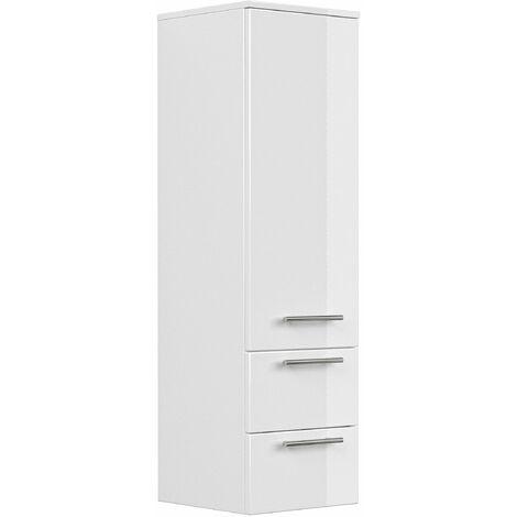 Mueble auxiliar 120 cm Blanco brillante con estantería de cristal