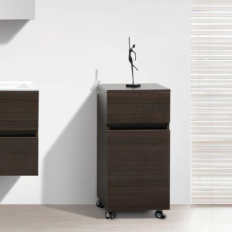 Mueble auxiliar bajo de baño sobre ruedas 84cm SIENA tinte Roble Negro