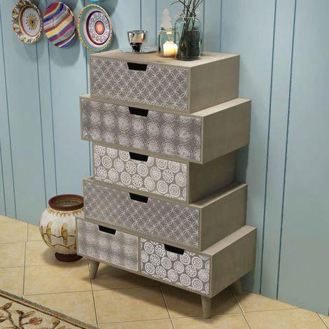 Mueble auxiliar con 6 cajones gris