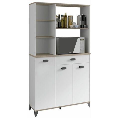 Mueble auxiliar para microondas en color blanco alto brillo y roble cambrian