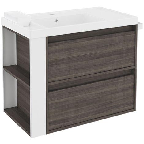 Lavabo Resina Blanco.Mueble B Smart 2 Cajones Con Lavabo De Resina